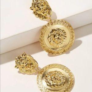 Lion Drop Circle Gold Medallion Earrings